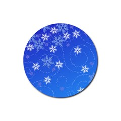 Winter Blue Snowflakes Rain Cool Rubber Coaster (round)