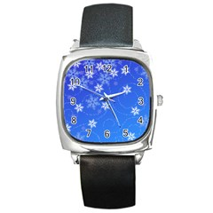Winter Blue Snowflakes Rain Cool Square Metal Watch by Mariart