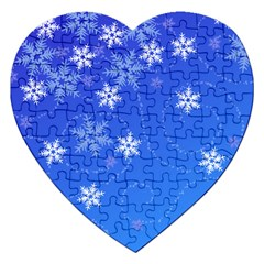Winter Blue Snowflakes Rain Cool Jigsaw Puzzle (heart) by Mariart