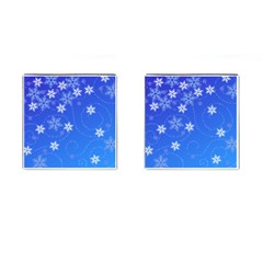 Winter Blue Snowflakes Rain Cool Cufflinks (square) by Mariart