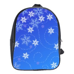 Winter Blue Snowflakes Rain Cool School Bag (large) by Mariart