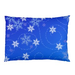 Winter Blue Snowflakes Rain Cool Pillow Case (two Sides) by Mariart