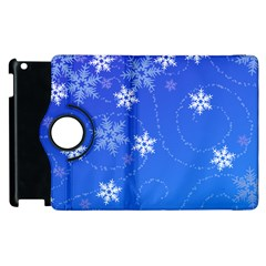 Winter Blue Snowflakes Rain Cool Apple Ipad 2 Flip 360 Case by Mariart