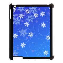 Winter Blue Snowflakes Rain Cool Apple Ipad 3/4 Case (black) by Mariart