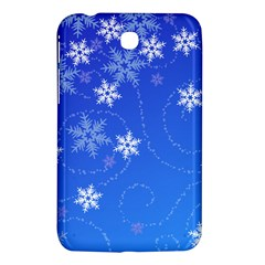 Winter Blue Snowflakes Rain Cool Samsung Galaxy Tab 3 (7 ) P3200 Hardshell Case  by Mariart