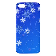 Winter Blue Snowflakes Rain Cool Iphone 5s/ Se Premium Hardshell Case by Mariart