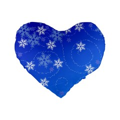 Winter Blue Snowflakes Rain Cool Standard 16  Premium Flano Heart Shape Cushions by Mariart