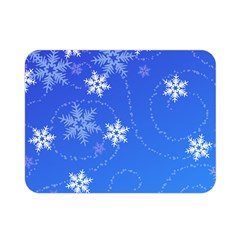 Winter Blue Snowflakes Rain Cool Double Sided Flano Blanket (mini)  by Mariart