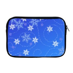 Winter Blue Snowflakes Rain Cool Apple Macbook Pro 17  Zipper Case by Mariart