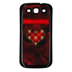 Wonderful Elegant Decoative Heart With Flowers On The Background Samsung Galaxy S3 Back Case (black) by FantasyWorld7