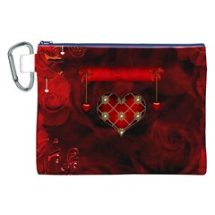 Wonderful Elegant Decoative Heart With Flowers On The Background Canvas Cosmetic Bag (xxl) by FantasyWorld7