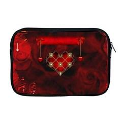 Wonderful Elegant Decoative Heart With Flowers On The Background Apple Macbook Pro 17  Zipper Case by FantasyWorld7