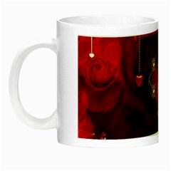 Wonderful Elegant Decoative Heart With Flowers On The Background Night Luminous Mugs by FantasyWorld7