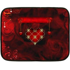 Wonderful Elegant Decoative Heart With Flowers On The Background Fleece Blanket (mini) by FantasyWorld7