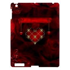 Wonderful Elegant Decoative Heart With Flowers On The Background Apple Ipad 3/4 Hardshell Case by FantasyWorld7