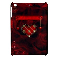 Wonderful Elegant Decoative Heart With Flowers On The Background Apple Ipad Mini Hardshell Case by FantasyWorld7