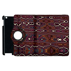 Hippy Boho Chestnut Warped Pattern Apple Ipad 3/4 Flip 360 Case by KirstenStar