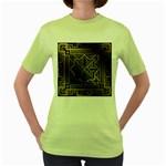 art nouveau Women s Green T-Shirt