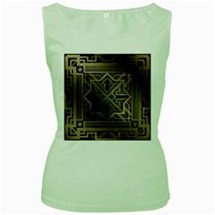 Art Nouveau Women s Green Tank Top