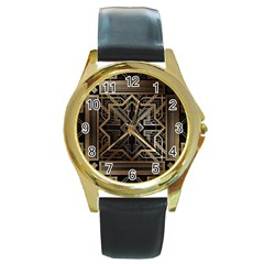 Art Nouveau Round Gold Metal Watch