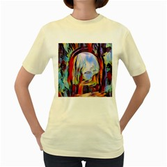 Abstract Tunnel Women s Yellow T Shirt