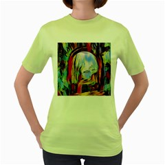 Abstract Tunnel Women s Green T Shirt