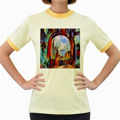 Abstract Tunnel Women s Fitted Ringer T Shirts