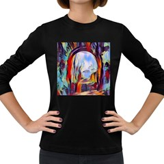 Abstract Tunnel Women s Long Sleeve Dark T Shirts