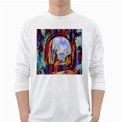 Abstract Tunnel White Long Sleeve T Shirts