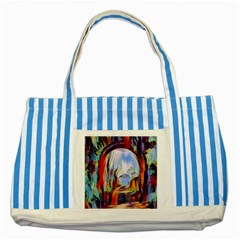 Abstract Tunnel Striped Blue Tote Bag