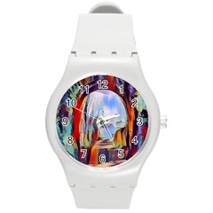 Abstract Tunnel Round Plastic Sport Watch (m)