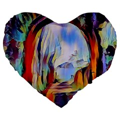 Abstract Tunnel Large 19  Premium Flano Heart Shape Cushions