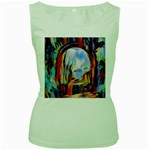 abstract tunnel Women s Green Tank Top