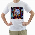 abstract tunnel Men s T-Shirt (White) (Two Sided)