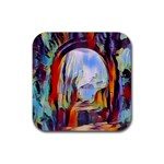 abstract tunnel Rubber Square Coaster (4 pack)
