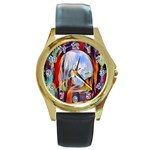 abstract tunnel Round Gold Metal Watch