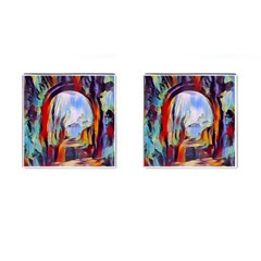 Abstract Tunnel Cufflinks (square) by 8fugoso