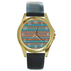 Winter Pattern 1 Round Gold Metal Watch by tarastyle