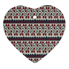 Winter Pattern 5 Heart Ornament (two Sides) by tarastyle