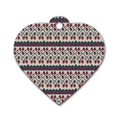 Winter Pattern 5 Dog Tag Heart (one Side) by tarastyle