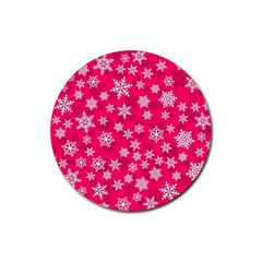 Winter Pattern 13 Rubber Round Coaster (4 Pack)  by tarastyle