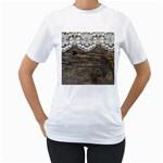 Shabbychicwoodwall Women s T-Shirt (White) (Two Sided)