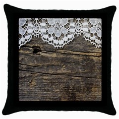 Shabbychicwoodwall Throw Pillow Case (black) by 8fugoso