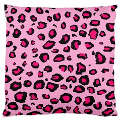 Pink Leopard Large Cushion Case (one Side)