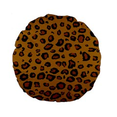 Classic Leopard Standard 15  Premium Flano Round Cushions by TRENDYcouture