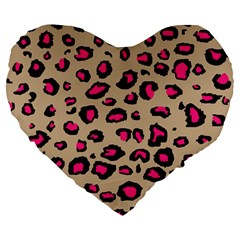 Pink Leopard 2 Large 19  Premium Flano Heart Shape Cushions by TRENDYcouture