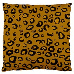 Golden Leopard Large Cushion Case (one Side) by DreamCanvas