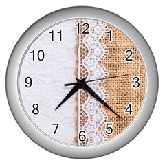 Parchement,lace And Burlap Wall Clocks (silver)  by 8fugoso