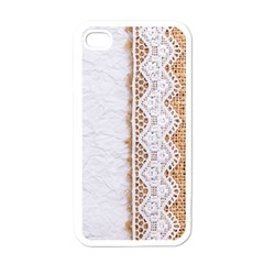 Parchement,lace And Burlap Apple Iphone 4 Case (white) by 8fugoso