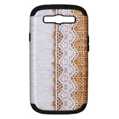 Parchement,lace And Burlap Samsung Galaxy S Iii Hardshell Case (pc+silicone) by 8fugoso